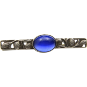 Vintage Art Nouveau Blue Band Sapphire & Sterling Silver Bar Pin with Pine Cones