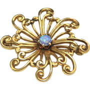 Vintage 10k Yellow Gold & Opal Flower Spiral Pendant or Brooch