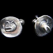 Vintage Sterling Silver Western Cowboy Hat Screw Back Earrings Retro 1960s Jewelry Signed