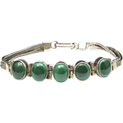 Vintage Malachite and Sterling Silver Bracelet Multiple Green Stone Chain Hinge