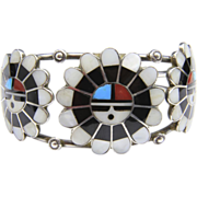 Vintage Zuni Inlay Sun-God Face Cuff Bracelet Sterling Silver Mother of Pearl Turquoise Coral / Native American Jewelry / Southwestern