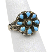 Vintage Small Petit Point Cluster Turquoise & Sterling Ring Native American Size 4.5