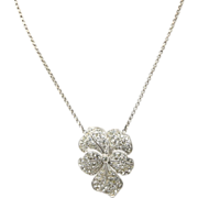Gorgeous Vintage Sterling Silver & Rhinestone Flower Pendant Necklace