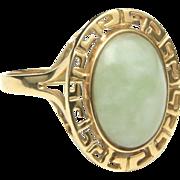 Vintage Jade & 14k Yellow Gold Ring Greek Key Design Size 6.25 Signed