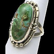Vintage Navajo Sterling & Carico Lake Green Turquoise Ring Sz 6.25 Signed Nakai Native American Southwestern