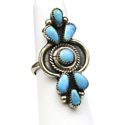 Vintage Long Zuni Petit Point Turquoise & Sterling Silver Ring Sz 6.5 Native American Southwestern Artisan