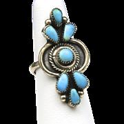 Vintage Long Zuni Petit Point Turquoise & Sterling Silver Ring Sz 6.5 Native American Southwestern Artisan