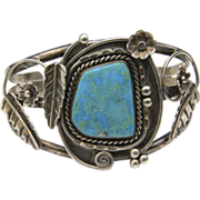 Vintage Navajo Sterling Silver & Large Turquoise Stone Cuff Bracelet Flowers Native American Southwestern