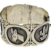 Vintage Taxco Maricela 950 Sterling Silver Picture Panel Bracelet Signed Cactus Burro Aloe Cowboy Mexico
