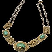 Vintage Art Nouveau Dragon Necklace Czech Green Glass & Hammered Brass Panel
