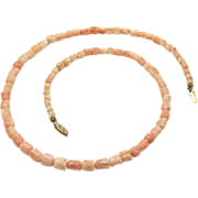 """Vintage Old Chinese Natural Pink Coral Carved Lotus Flower Necklace 16.25"""" Length"""