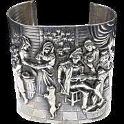 Vintage Large Silver Repousse Story Cuff Bracelet Tavern Scene Denmark Jensen