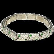 Vintage Art Nouveau Deco Style Silver-Tone Hinged Link Panel Bracelet Swirl Rhinestone Green