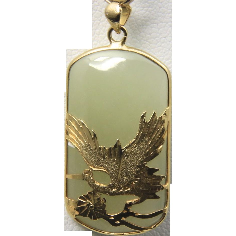 Vintage Green Jade Gold Tone Flying Crane Necklace Pendant