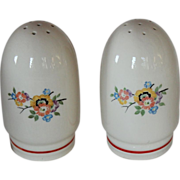 Art Deco Hand Painted Bullet Shaped Salt & Pepper Shakers