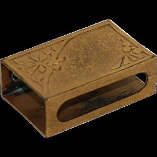 Bronze Silvercrest Match Box Cover w/ Gold Dore or Ormolu Finish & Floral Design, 1930's