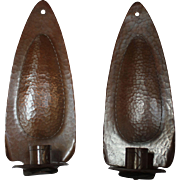 Rare Pair of Roycroft Hand Hammered Copper Candle Sconces, Aurora, NY, 1906 - 10