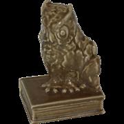 Rookwood Arts & Crafts Owl on Book Bookend, 1930, Cincinnati