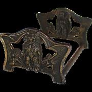 Brass Over Cast Iron Owl Sliding Book Rack, Judd, Connecticut, 1920's