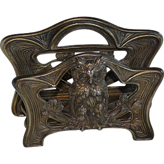 Brass Over Cast Iron Letter Holder w/ Owl & Pine Cones, Judd, Connecticut, 1920
