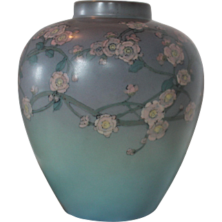 Substantial Rookwood Vellum Floral Vase hand decorated by Ed Diers, Cincinnati, 1926