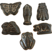 Set of 6 Vintage Tin Chocolate Molds w/ Animals, Amphibians, Crustaceans, & Insects