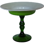 Pedestal Art Glass Cased Glass Compote