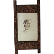 Arts & Craft Aesthetic Period Wood and Gesso Easel-back Frame w/ Grapes, 1900