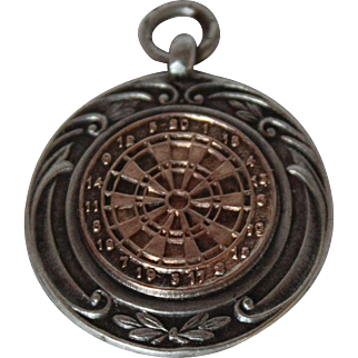 Sterling Silver & Rose Gold Dart Board Watch Fob or Pendant, Birmingham, England, 1922