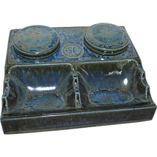 American Encaustic Tile Company (AETCO) Ceramic Advertising Double Inkwell Pen Holder,      Zanesville, Ohio