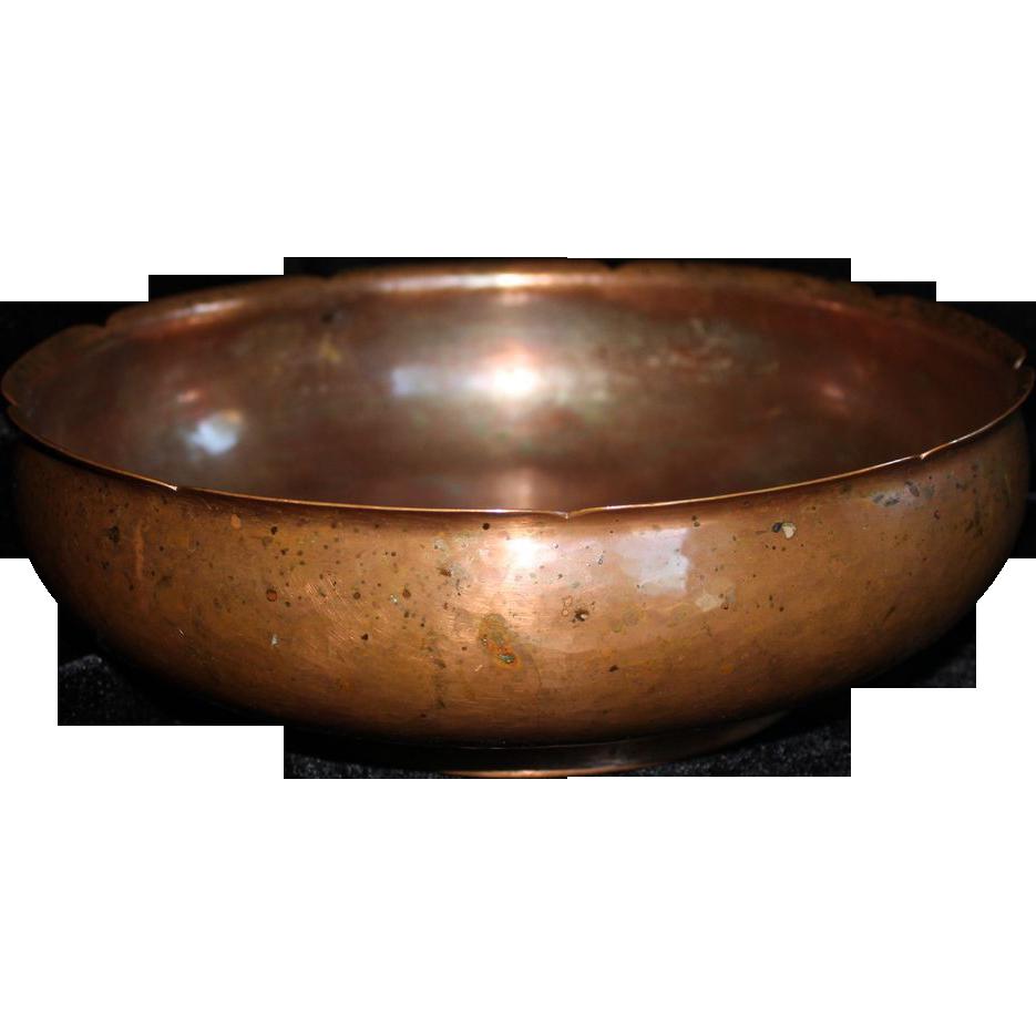 hammered copper bowl marked for frans jr gyllenberg early twentieth century