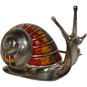 Vintage Sterling Silver & Enamel Snail Pin, Italy