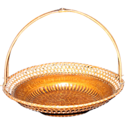 Japanese Hand Hammered & Woven Copper Basket