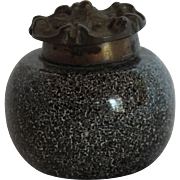 Ceramic & Bronze Granite-look Inkwell, Art Nouveau