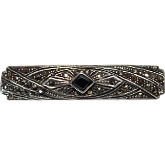 Vintage Art Deco Sterling Silver, Marcasite & Onyx Bar Pin