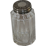 Antique Dresser Jar with Sterling Silver Hand Decorated Lid, 1885, London