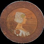 "24"" Pyrography Portrait Plaque Queen Wilhelmina, Netherlands, 1903, after Paul Berthon Print"