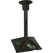 Bronze & Green Slag Glass Candlestick, Arts & Crafts Style