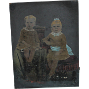 Hand Colored Tintype Photograph of 2 Children, Unusual Effect