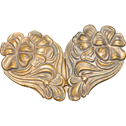 Antique Brass Art Nouveau Floral Repousse Sash or Belt Buckle, 1900