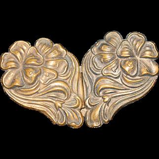 Antique Brass Art Nouveau Floral Repousse Sash or Belt Buckle, 1900