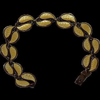 Sterling Silver Bracelet w/ Gold Wash & Yellow Enameled Leaves, David – Andersen, Norway