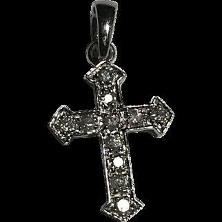 14k WG Diamond Cross Pendant Petite Small Size