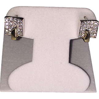 14k YG-WG Square Geometric CZ Encrusted Earrings Latch back/ French Fastening