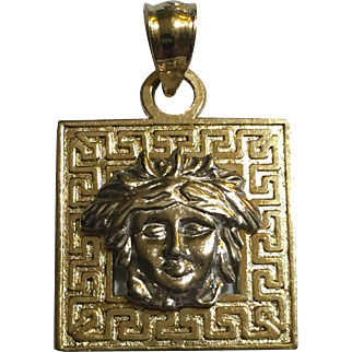 14k YG-WG Medusa Image Greek Key Ornament Square Shaped Pendant Versace-Style