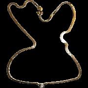 14k YG Vintage Italian Solitaire Bezel Diamond 0.18ctw Flat Necklace Collar 16 inches
