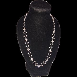 14k (585) WG Diamond 2.79 cwt. Italian Filigree Floral Section Collar/ Choker Length (16 in./ 41cm) Necklace