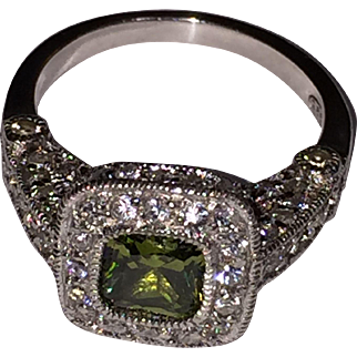 Green Peridot CZ Silver 925 Edwardian style engagement ring US Size 7.5, Italy c.1970s