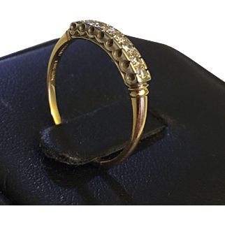 Art Deco Diamond Wedding  band GRANAT Pat. 1972422 Sz 7 1/2 14-18k YG/WG c.1930s