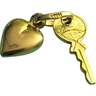 """""""Sweetheart's Heart and Key"""" or """"Key to my heart"""" pendant 14-karat yellow gold"""